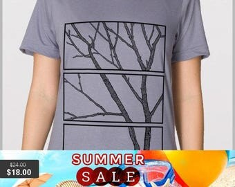 Sale Medium - Unisex Tee - 3 piece tree - American Apparel T Shirt - Full Spectrum Apparel