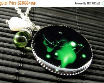 SUMMER SALE Aries Zodiac Necklace. Sun Sign Charm Necklace in Green. Handmade Jewelry.