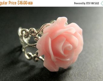 BACK to SCHOOL SALE Pink Rose Ring. Pink Flower Ring. Adjustable Ring. Filigree Ring. Flower Jewelry. Handmade Jewelry.