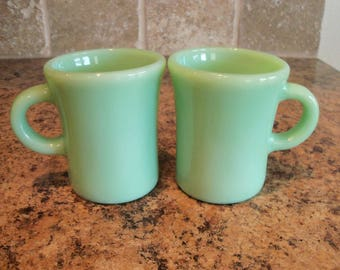 FREE USA Shipping-2 Vintage Fire King Jadeite Jadite Slim Chocolate C Handle Restaurant Mugs Cups