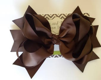 "SALE!! Jumbo Large 8"" Brown Boutique Hair Bow"