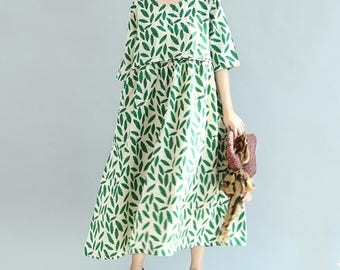 Women Summer Long dress green loose doll dress