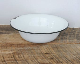 Vintage Enamelware Bowl Basin White with Black Trim
