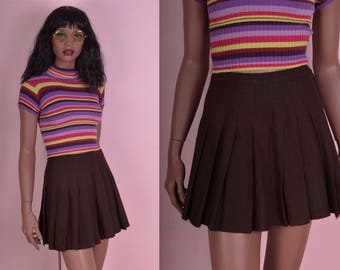 70s Brown Cheer Skirt/ 26-27 Waist/ 1970s/ Pleated