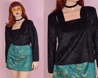 90s Black Crushed Velvet Shirt/ Large/ 1990s/ Long Sleeve