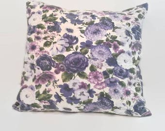 Shabby Purple Floral Accent, Cottage Chic Throw Pillow Cover Upcycled, Eco-Friendly, Sustainable  18 X 18 Cushion Cover