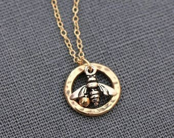 Bee Necklace, Honey Bee Necklace, Circle Bee Necklace, Tiny Bee Necklace, Gold Bee Necklace, Gold Filled and Sterling Silver Bee Necklace