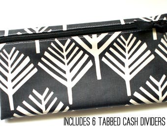 Dave Ramsey budget wallet in black and off-white matte laminated cotton