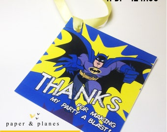 Batman INSTANT DOWNLOAD Party Favor Tags - Printable Party Favor, Loot Bag Tags