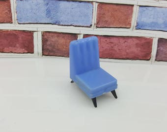 Blue Box Armless Chair  Doll house furniture  Blue MCM hard plastic