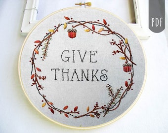 Fall Autumn Thanksgiving  Hand Embroidery Pattern PDF Harvest Home Give Thanks
