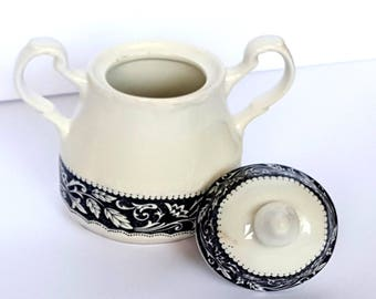 Sterling Colonial Ware English Ironstone J & G Meakin Sugar Bowl Vintage