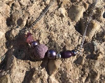 Purple Aromatherapy Lava Bead Diffusing Necklace