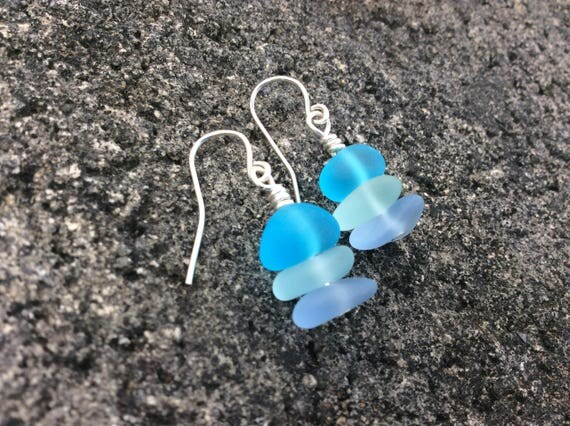 Stackable Multi Color Seaglass, Silver Plated Earrings
