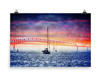 Sunset Sailing by the Key Bridge, Fort McHenry, Baltimore, Md, Museum Quality Poster Print