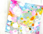 Abstract Bee Painting on 6x6 inch watercolor paper / Mixed Media Painting / Spring Colors / Happy Art