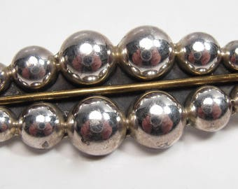 Vintage Taxco Mexico Sterling Silver Modernist Hobnail Design Bar Brooch Pin Vtg
