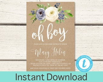 Rustic Baby Shower Invitation, Blue Floral Watercolor, Kraft Baby Boy Shower invitation, Watercolor Floral baby Invitation, Instant Download