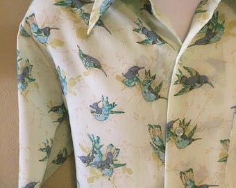 Men's vintage 70s Disco Shirt VLV Rockabilly Sparrow Tattoo 1970s Long Sleeve Mint Green & Blue Bird Print Hipster by Mr. California Large