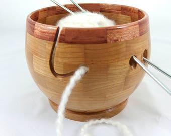 Wooden Cherry Knitting Bowl, Lathe Turned, Segmented, Bubinga Rim, As Seen In Knit Wear and Interweave Knits Magazines