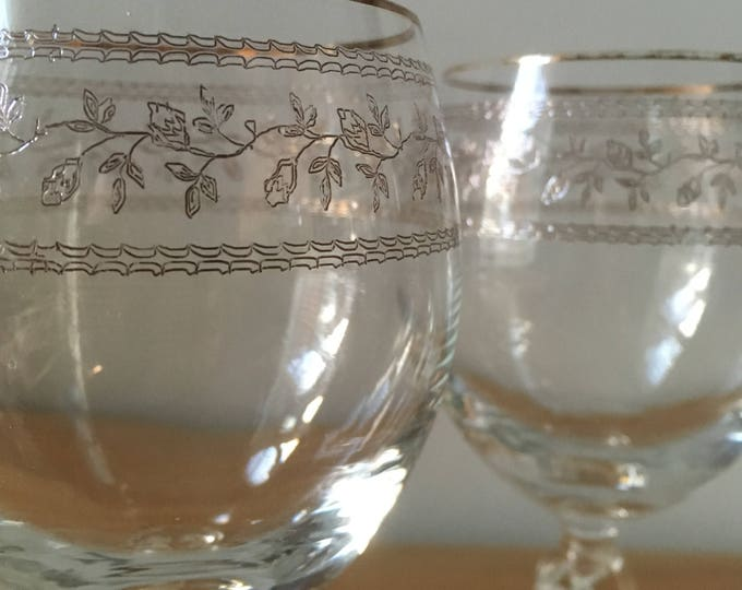 Vintage Etched Wine Glasses with gilt rims