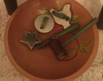 Vintage Wood Cherry Deco Bowl Primitive Green Handle Hammver Wood Metal Green Cookie Cutters Potato Peeler Dough Bowl