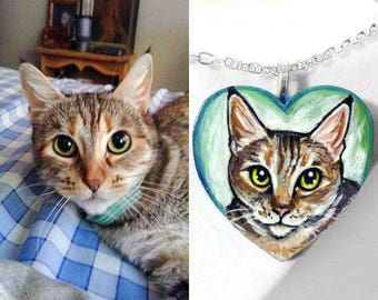 Custom Jewelry, Pet Portrait, Heart Necklace, Hand Painted Wood Pendant, Memorial Gift, In Memory of Cat, Dog Painting, Personalized Gift
