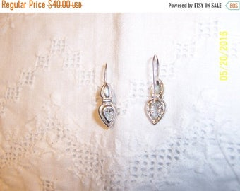 20% OFF VALENTINES SALE Vintage Clear Stone earrings. Sterling silver.