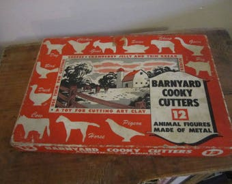 Barnyard Cooky Cutter Box with Three Animal Cookie Cutters. Goat Horse Sheep