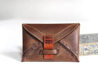 Leather envelope wallet, Wax oil tan cow hide,  Wood/brass clasp