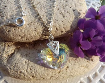 Swarovski Clear AB Crystal Truely in Love Heart Pendant (Style 18)