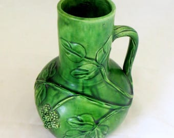 Arts & Crafts Brambles Pitcher, Antique Belgium Belgian Art Pottery Majolica Relief Organic Berries Handled Jug Vase 1890s