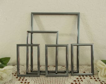 Vintage Metallic Grey Picture Frame Set Gray Metal Photo Decoration Mid Century Industrial Man Cave Mad Men Home Decor Gift Him Her
