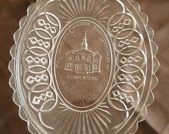 Centennial 1876 Pressed Glass Bread Tray Plate Platter of Carpenters Hall