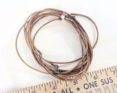 "5pcs brown leather necklaces with Sterling silver clasps salvaged lot destash 22"" long"