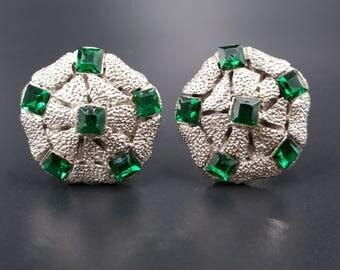 Green Rhinestone Cufflinks, Emerald Green Vintage Cuff Links, Silver Tone Green Stone Cufflinks, Men's Jewelry Accessories Gifts