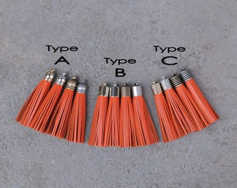 2 Orange  Leather TASSELs in 10mm Cap -4 colors Plated Cap- Pick cap type and cap color