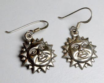 Vintage Sterling Silver Sun Face Pierced Dangle Earrings