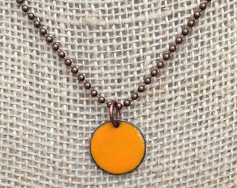 Enameled Penny Necklace - Upcycled Penny - Lucky Penny Charm Necklace - Marigold