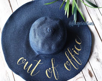 Out of the Office Floppy Hat | Personalized Floppy Hat | Out of Office Beach Hat | Honeymoon Beach Hat | Do Not Disturb Hat | Vacation Hat