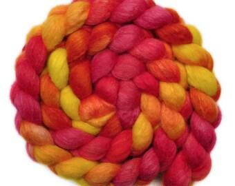 Hand painted roving - Silk / BFL wool 25/75% spinning fiber - 4.0 ounces - Rising Sun 1