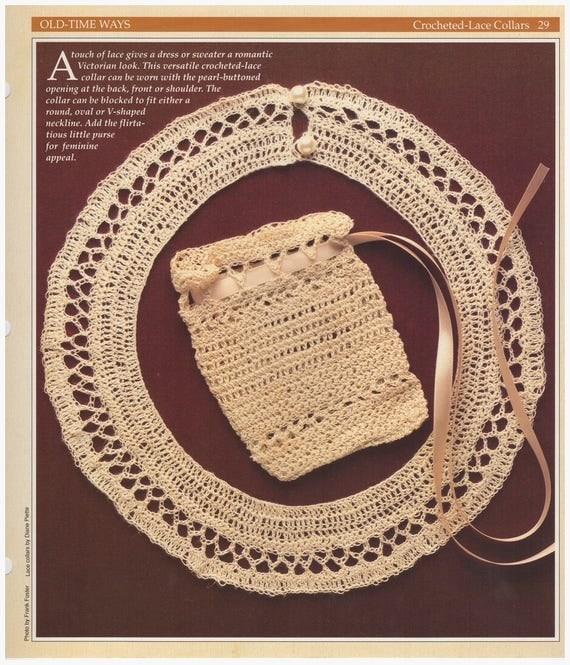 Crochet Pattern Crochet Lace Collar Pattern Crochet Bag Pattern