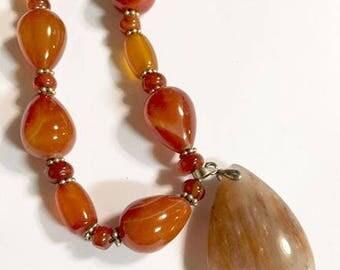 Vintage Banded Cornelian Stone Beaded Necklace with Pendant