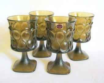 """Retro New In Box 1983 NORITAKE Footed 6"""" Walnut Spot Light Goblets GLASSES 4 Piece w/Tags"""