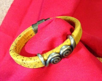 Genuine CORK Magnetic Bracelet - Thick Yellow Cork - Zamak Tube Snail Embellishment - 6.5 inches