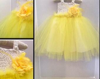yellow flower girl dress, toddler fashion  - fancy yellow dress, yellow wedding dress,  special occasion dress, baby flower girl