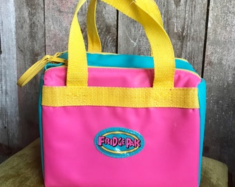 Vintage 80s 90s Colorful Insulated Bag Lunch Box - FRIDGE PAK