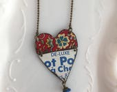 """Tin Jewelry Hinged Heart Necklace """"De-Luxe"""" Tin for the Ten Year Tenth Wedding Anniversary"""