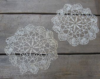 Delicate Beige Doilies / Vanity Scarfs / Night Stand Doily / Set of TWO / Taupe Beige Ecru Vanity Decor / Crochet Doilies / Table Linens