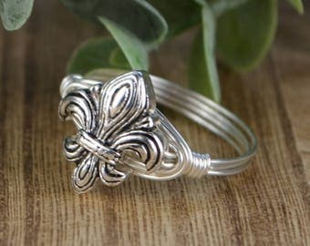 Sale! Fleur De Lis Wrapped Ring- Silver Tone Bead and Sterling Silver, Yellow or Rose Gold Filled Wire- Any Size 4 5 6 7 8 9 10 11 12 13 14